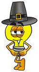 Clip Art Graphic of a Yellow Electric Lightbulb Cartoon Character Wearing a Pilgrim Hat on Thanksgiving