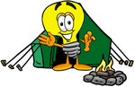 Clip Art Graphic of a Yellow Electric Lightbulb Cartoon Character Camping With a Tent and Fire