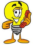 Clip Art Graphic of a Yellow Electric Lightbulb Cartoon Character Holding a Telephone