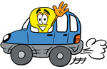 Clip Art Graphic of a Yellow Electric Lightbulb Cartoon Character Driving a Blue Car and Waving