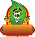 Clip Art Graphic of a Green Tree Leaf Cartoon Character Label