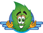 Clip Art Graphic of a Green Tree Leaf Cartoon Character Logo