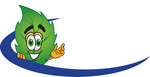 Clip Art Graphic of a Green Tree Leaf Cartoon Character Logo With a Blue Dash
