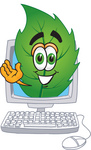 Clip Art Graphic of a Green Tree Leaf Cartoon Character Waving From Inside a Computer Screen