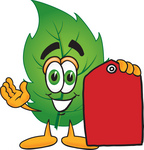 Clip Art Graphic of a Green Tree Leaf Cartoon Character Holding a Red Sales Price Tag