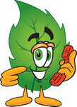Clip Art Graphic of a Green Tree Leaf Cartoon Character Holding a Telephone