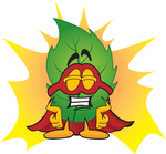 Clip Art Graphic of a Green Tree Leaf Cartoon Character Dressed as a Super Hero