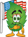 Clip Art Graphic of a Green Tree Leaf Cartoon Character Pledging Allegiance to an American Flag