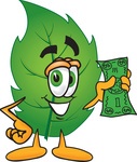 Clip Art Graphic of a Green Tree Leaf Cartoon Character Holding a Dollar Bill