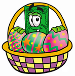 Clip Art Graphic of a Flat Green Dollar Bill Cartoon Character in an Easter Basket Full of Decorated Easter Eggs