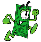 Clip Art Graphic of a Flat Green Dollar Bill Cartoon Character Running