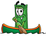 Clip Art Graphic of a Flat Green Dollar Bill Cartoon Character Rowing a Boat