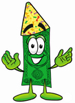 Clip Art Graphic of a Flat Green Dollar Bill Cartoon Character Wearing a Birthday Party Hat