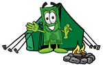 Clip Art Graphic of a Flat Green Dollar Bill Cartoon Character Camping With a Tent and Fire