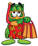 Clip Art Graphic of a Flat Green Dollar Bill Cartoon Character in Orange and Red Snorkel Gear