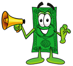 Clip Art Graphic of a Flat Green Dollar Bill Cartoon Character Holding a Megaphone