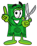 Clip Art Graphic of a Flat Green Dollar Bill Cartoon Character Holding a Pair of Scissors