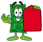 Clip Art Graphic of a Flat Green Dollar Bill Cartoon Character Holding a Red Sales Price Tag