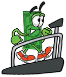 Clip Art Graphic of a Flat Green Dollar Bill Cartoon Character Walking on a Treadmill in a Fitness Gym