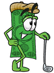 Clip Art Graphic of a Flat Green Dollar Bill Cartoon Character Leaning on a Golf Club While Golfing