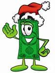 Clip Art Graphic of a Flat Green Dollar Bill Cartoon Character Wearing a Santa Hat and Waving