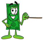 Clip Art Graphic of a Flat Green Dollar Bill Cartoon Character Holding a Pointer Stick