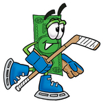 Clip Art Graphic of a Flat Green Dollar Bill Cartoon Character Playing Ice Hockey