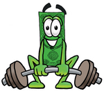 Clip Art Graphic of a Flat Green Dollar Bill Cartoon Character Lifting a Heavy Barbell