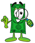 Clip Art Graphic of a Flat Green Dollar Bill Cartoon Character Looking Through a Magnifying Glass