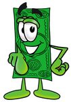 Clip Art Graphic of a Flat Green Dollar Bill Cartoon Character Pointing at the Viewer
