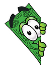 Clip Art Graphic of a Flat Green Dollar Bill Cartoon Character Peeking Around a Corner