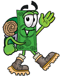 Clip Art Graphic of a Flat Green Dollar Bill Cartoon Character Hiking and Carrying a Backpack