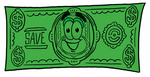 Clip Art Graphic of a Flat Green Dollar Bill Cartoon Character on a Dollar Bill