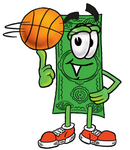 Clip Art Graphic of a Flat Green Dollar Bill Cartoon Character Spinning a Basketball on His Finger