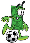 Clip Art Graphic of a Flat Green Dollar Bill Cartoon Character Kicking a Soccer Ball