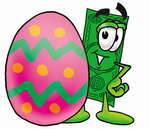 Clip Art Graphic of a Flat Green Dollar Bill Cartoon Character Standing Beside an Easter Egg