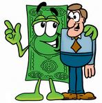Clip Art Graphic of a Flat Green Dollar Bill Cartoon Character Talking to a Business Man