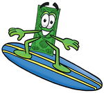 Clip Art Graphic of a Flat Green Dollar Bill Cartoon Character Surfing on a Blue and Yellow Surfboard