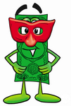 Clip Art Graphic of a Flat Green Dollar Bill Cartoon Character Wearing a Red Mask Over His Face