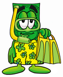 Clip Art Graphic of a Flat Green Dollar Bill Cartoon Character in Green and Yellow Snorkel Gear