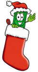 Clip Art Graphic of a Flat Green Dollar Bill Cartoon Character Wearing a Santa Hat Inside a Red Christmas Stocking
