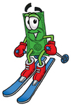 Clip Art Graphic of a Flat Green Dollar Bill Cartoon Character Skiing Downhill