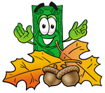 Clip Art Graphic of a Flat Green Dollar Bill Cartoon Character With Autumn Leaves and Acorns in the Fall
