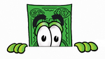 Clip Art Graphic of a Flat Green Dollar Bill Cartoon Character Peeking Over a Surface
