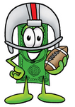 Clip Art Graphic of a Flat Green Dollar Bill Cartoon Character in a Helmet, Holding a Football