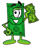 Clip Art Graphic of a Flat Green Dollar Bill Cartoon Character Holding a Dollar Bill