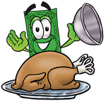 Clip Art Graphic of a Flat Green Dollar Bill Cartoon Character Serving a Thanksgiving Turkey on a Platter
