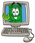 Clip Art Graphic of a Flat Green Dollar Bill Cartoon Character Waving From Inside a Computer Screen