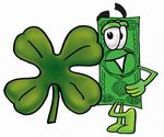 Clip Art Graphic of a Flat Green Dollar Bill Cartoon Character Wearing a Saint Patricks Day Hat With a Clover on it