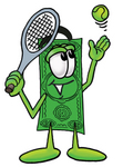 Clip Art Graphic of a Flat Green Dollar Bill Cartoon Character Preparing to Hit a Tennis Ball